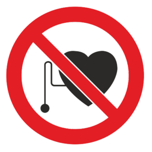 Знак - Запрещается работа (присутствие) людей со стимуляторами сердечной деятельности Р-11